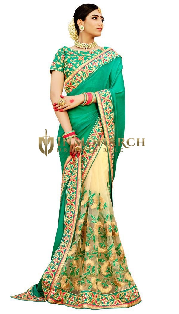 Teal and Light Yellow Half and Half Saree