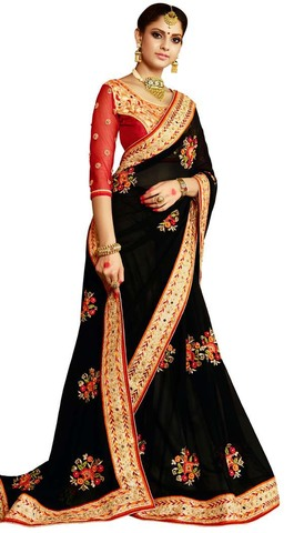 Black and Red Georgette Bridal Saree