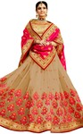 Beige Jacquard and Net Wedding Saree