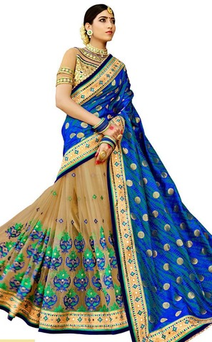 Beige and Blue Half and Half Saree