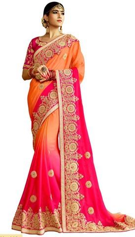 Peach and Pink Jute Chiffon Bollywood Saree