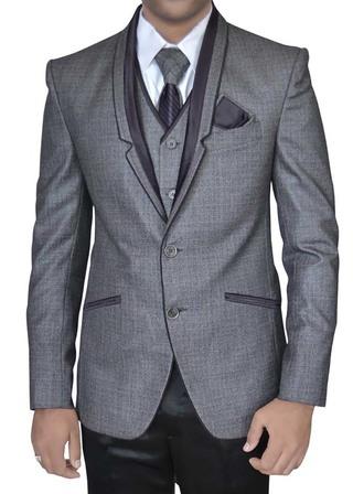 Mens Gray 6 Pc Tuxedo Suit Stylish Grooms
