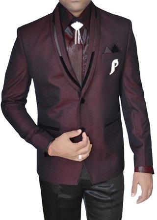 Mens Wine 7 Pc Tuxedo Suit Polyester