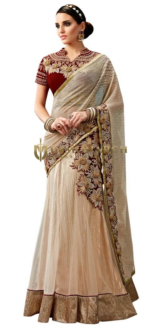 Beige Net and Georgette Ready To Wear Saree