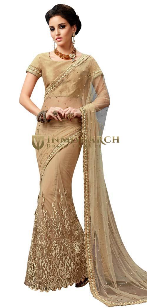 Beige Net Embroidery Lehenga Saree