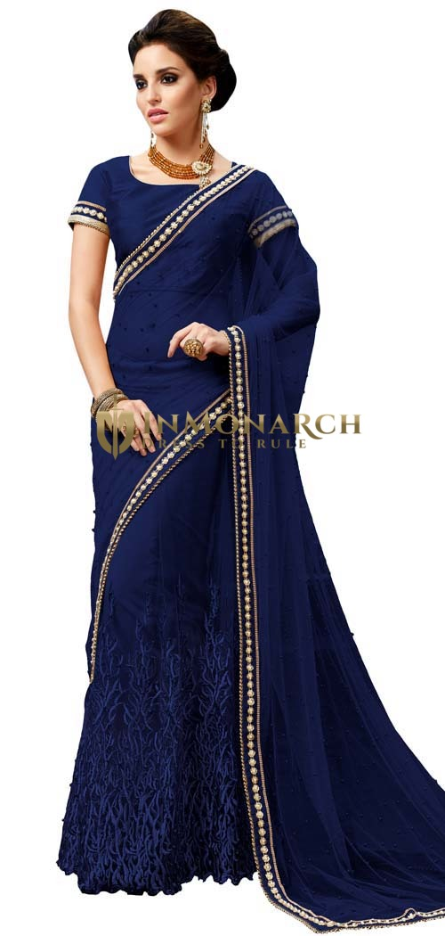Navy Blue Net Ready To Wear Saree