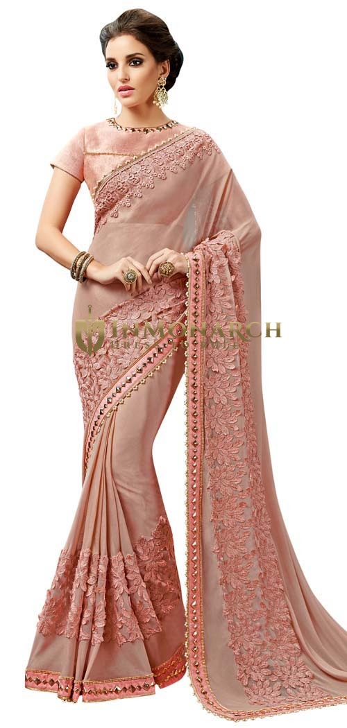 Peach Georgette Wedding Saree