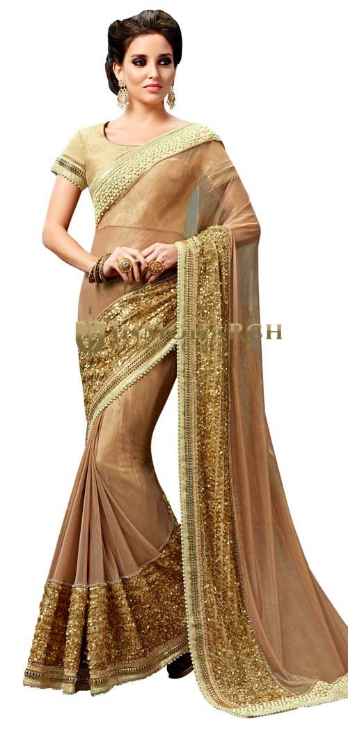 Tan Knitted Net Partywear Saree