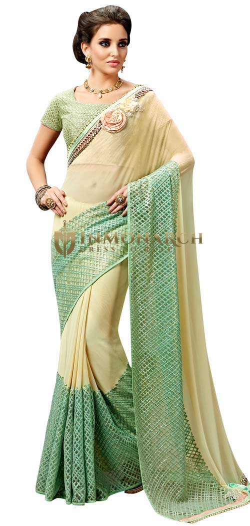 Yellow and Light Green Wedding Saree