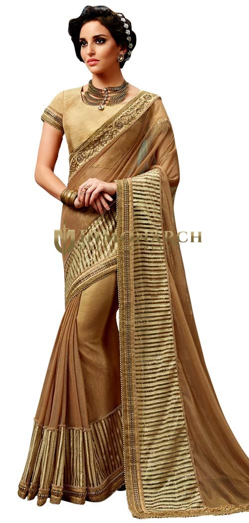 Brown Knitted Net Bridal Saree