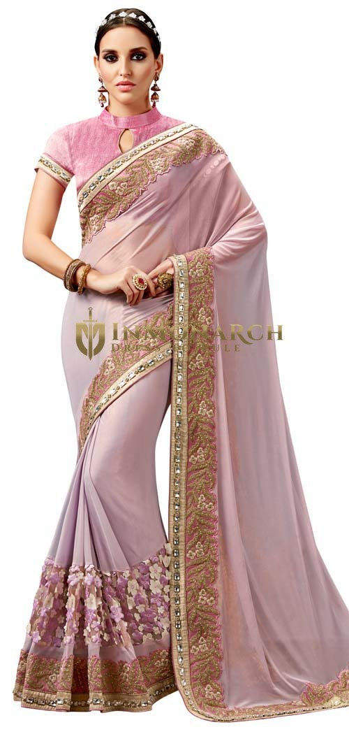 Pink Knitted Georgette Designer Saree