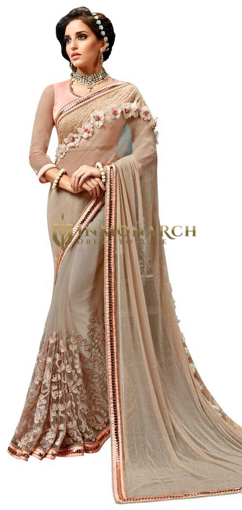 Beige Knitted Net Indian Bridal Saree