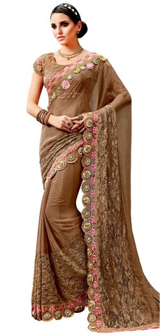 Brown Silk Chiffon Bollywood Saree