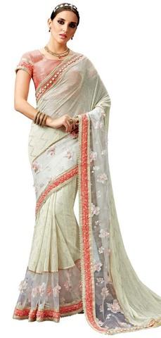 Cream Fancy Knit Bollywood Style Saree