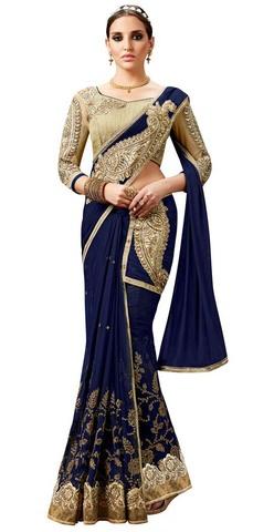 Navy Blue Net Lehenga Style Saree