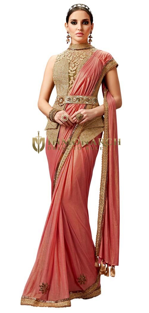 Peach Knitted Georgette Lehenga Saree