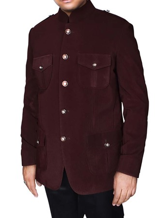 Mens Maroon Jacket Traditional Groomsmen 5 Button