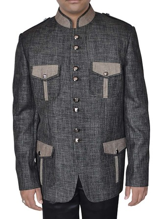 Mens Linen Gray Jacket Popular Safari Style
