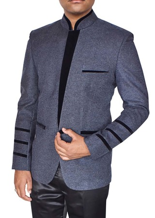 Mens Bluish Gray Jacket Classic V Style Front Panel