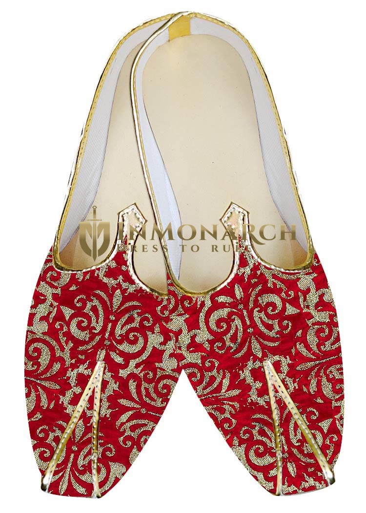 Mens Juti Red and Golden Flower Design Wedding Sherwani Shoes