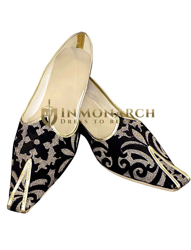 Mens Sherwani Shoes Black and Golden Designs Groom Shoes