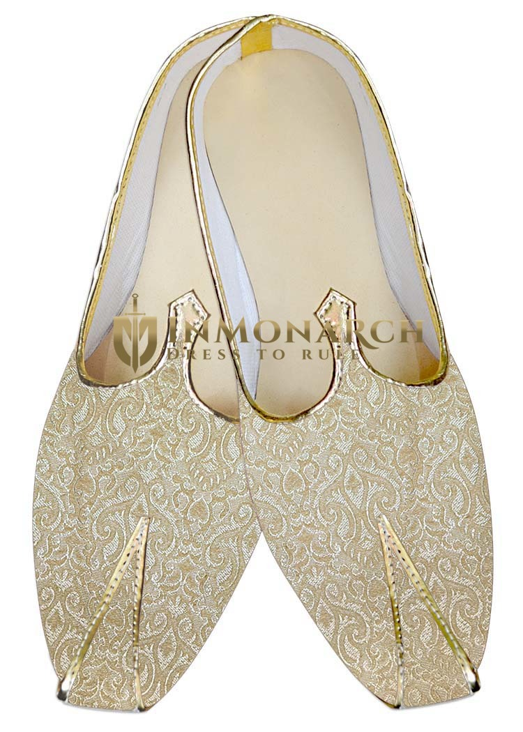 Mens Sherwani Shoes Beige Wedding Shoes Handmade Juti ForMen