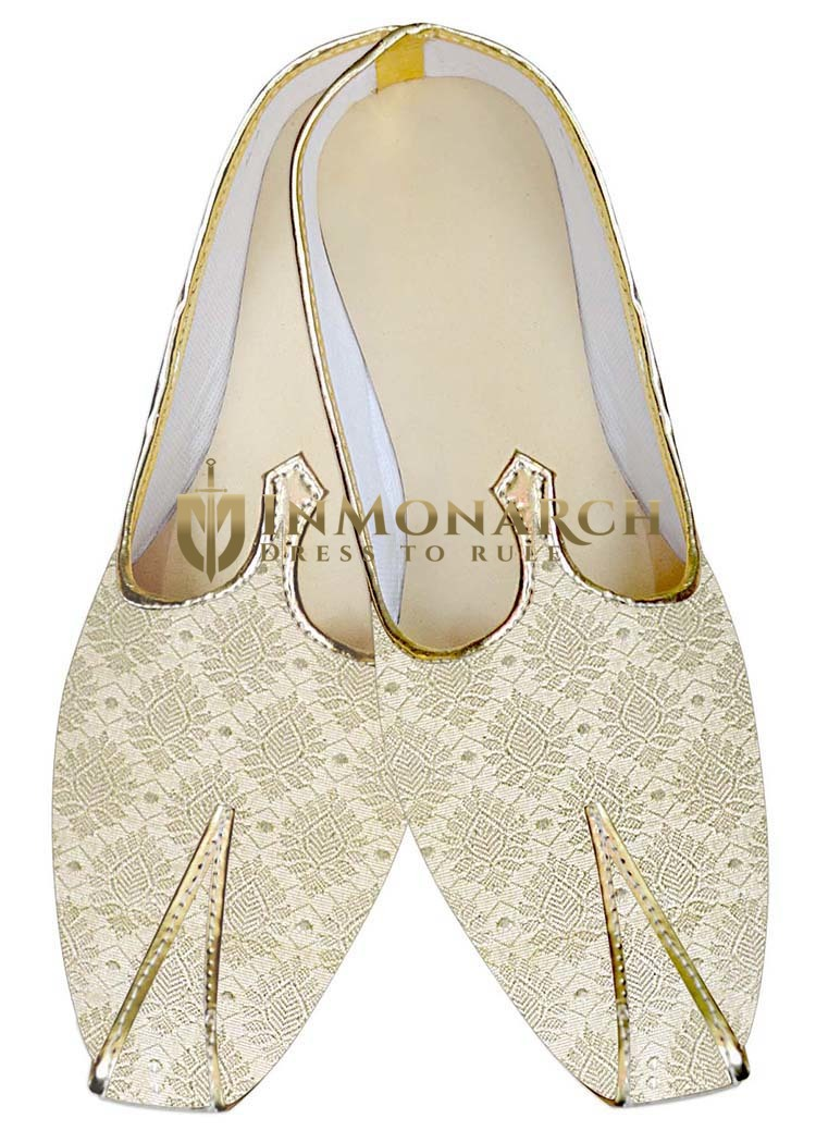 Indian Mens Shoes Ivory Wedding Sherwani Shoes Flower Pattern