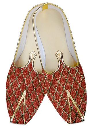 Mens Sherwani Shoes Golden and Red Juti ForMen Wedding Shoes