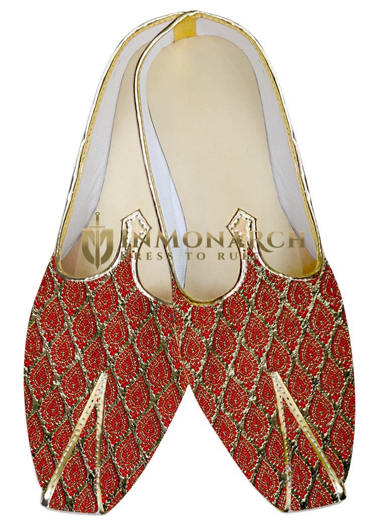 Mens Sherwani Shoes Golden and Red Juti For Men Wedding Shoes