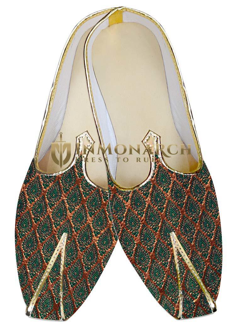 Mens Wedding ShoeFor Groom Golden and Teal Wedding Shoes