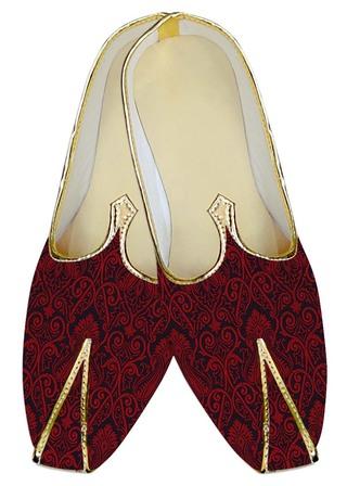Mens Juti Crimson Red Wedding Shoes Brocade Sherwani Shoes