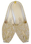Juti For Men Yellow Wedding Mojari Flower Design Wedding Shoe For Groom