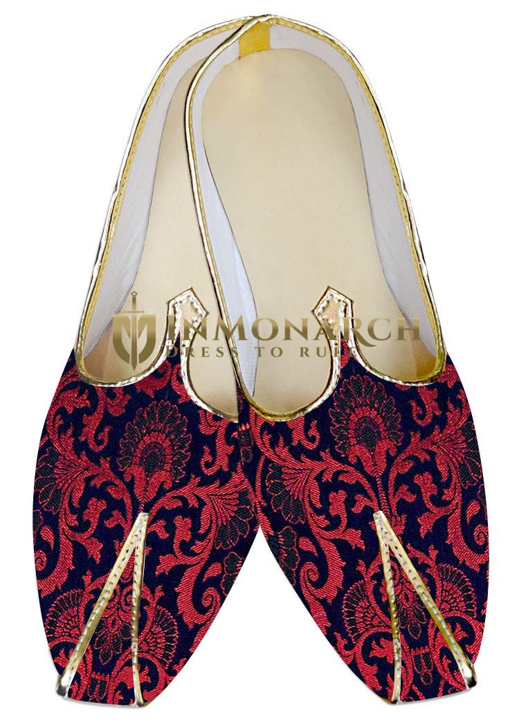 Indian Mens Shoes Red and Blue Wedding Shoes Handmade Juti