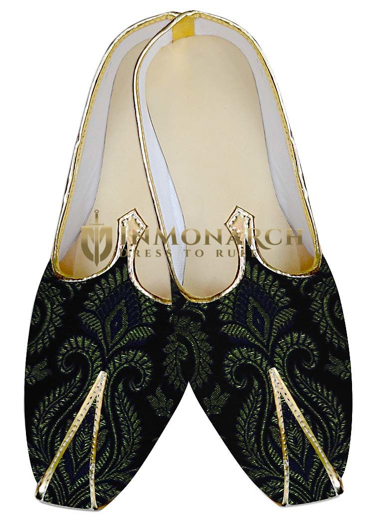 Mens Sherwani Shoes Black and Golden Wedding Juti Shoes