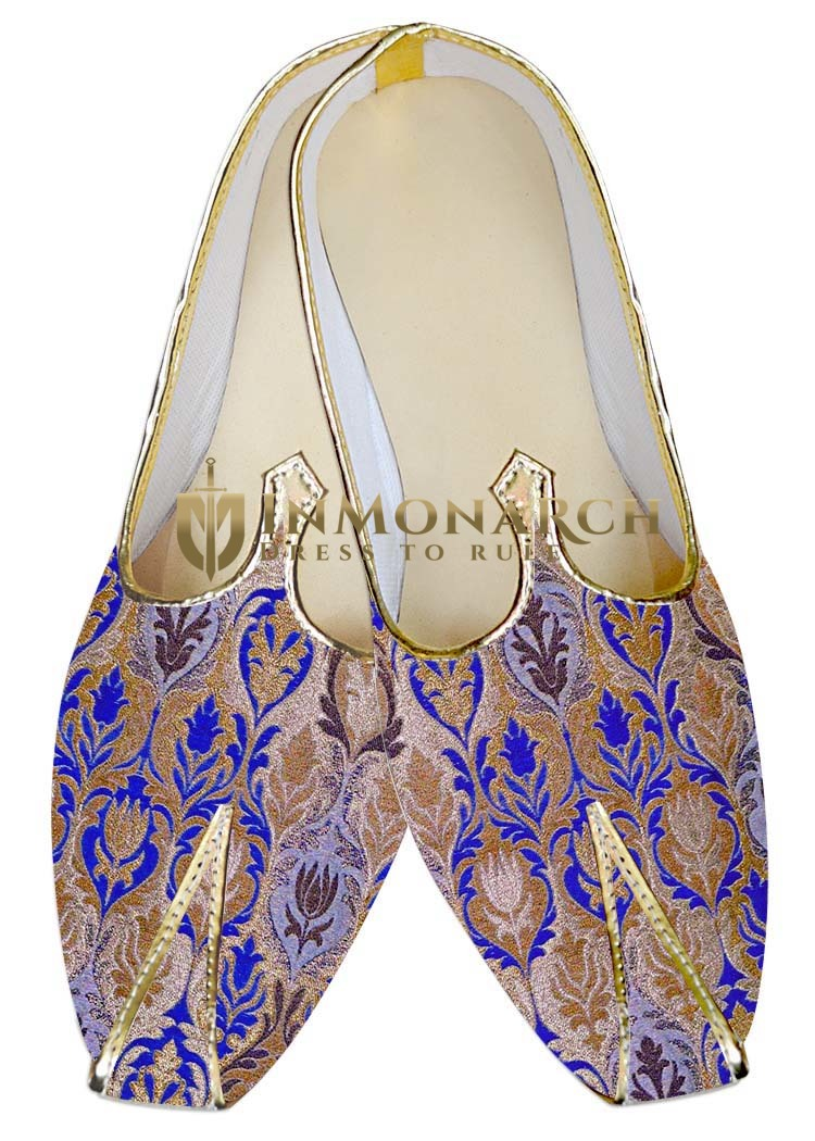 Mens Juti Golden and Blue Wedding Shoes Sherwani Shoes