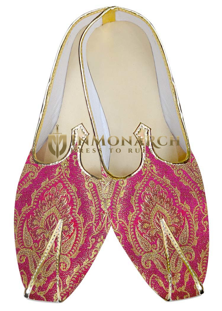 Mens Indian Bridal Shoes Magenta Wedding Shoes Bridegoom