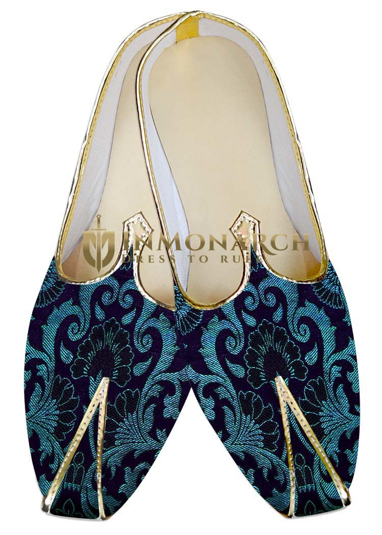 Traditional Shoes For Men Navy Blue and Cyan Wedding Shoes