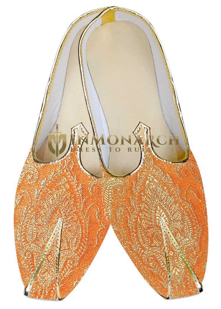 Indian Wedding Shoes For Men Orange Traditional Wedding Shoes