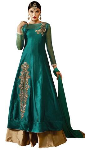 Teal Silk Partywear Lehenga Choli