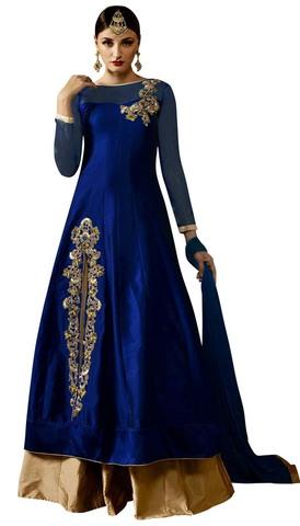 Royal Blue Silk Wedding Lehenga Choli