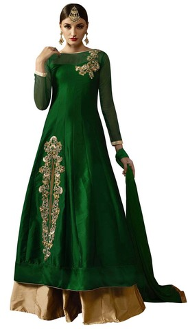 Green and Golden Silk Lehenga Choli