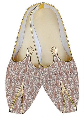 Indian MensShoes Pink Wedding Shoes Paisley Pattern Mens Juti