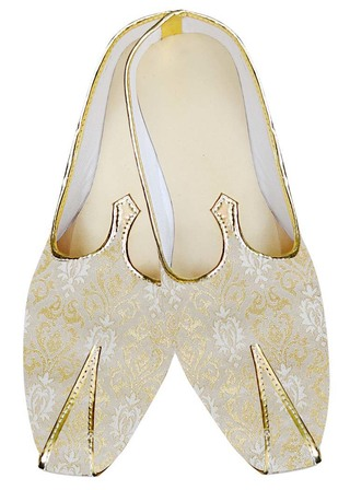 Mens Sherwani Shoes Cream and Golden Wedding Shoes
