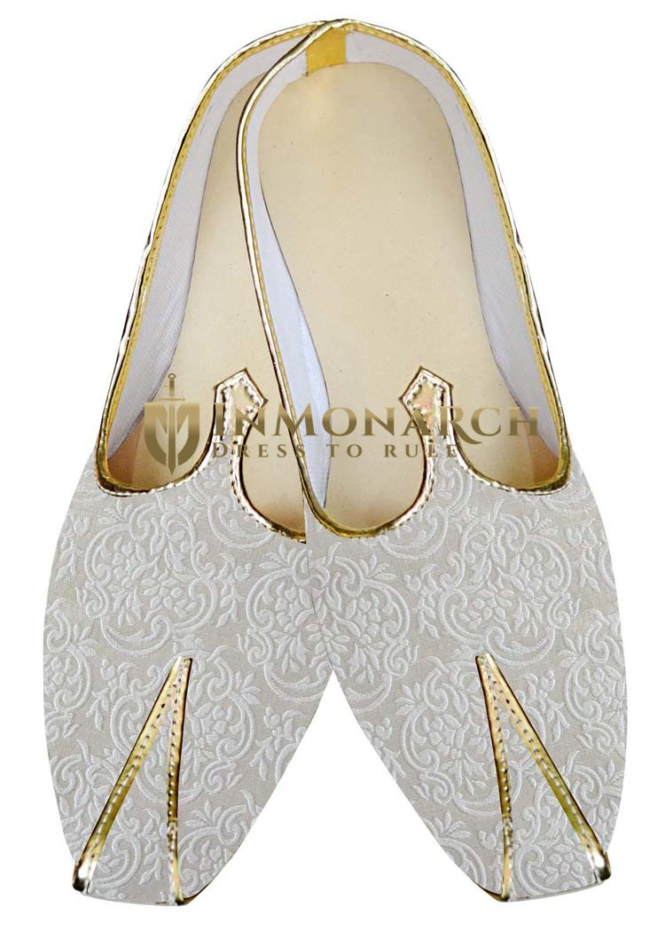 Indian Mens Shoes Cream Wedding Shoes Rajasthani Juti