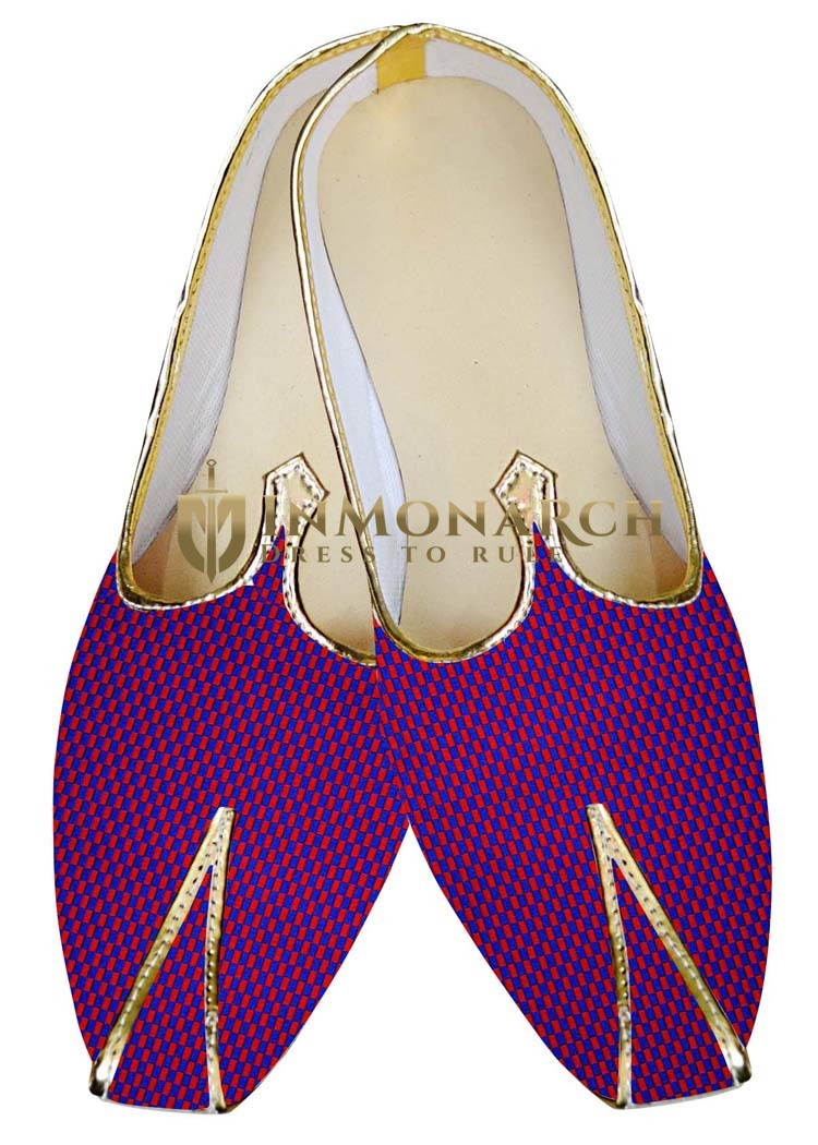 Mens Indian Bridal Shoes Red and Blue Wedding Shoes Woven