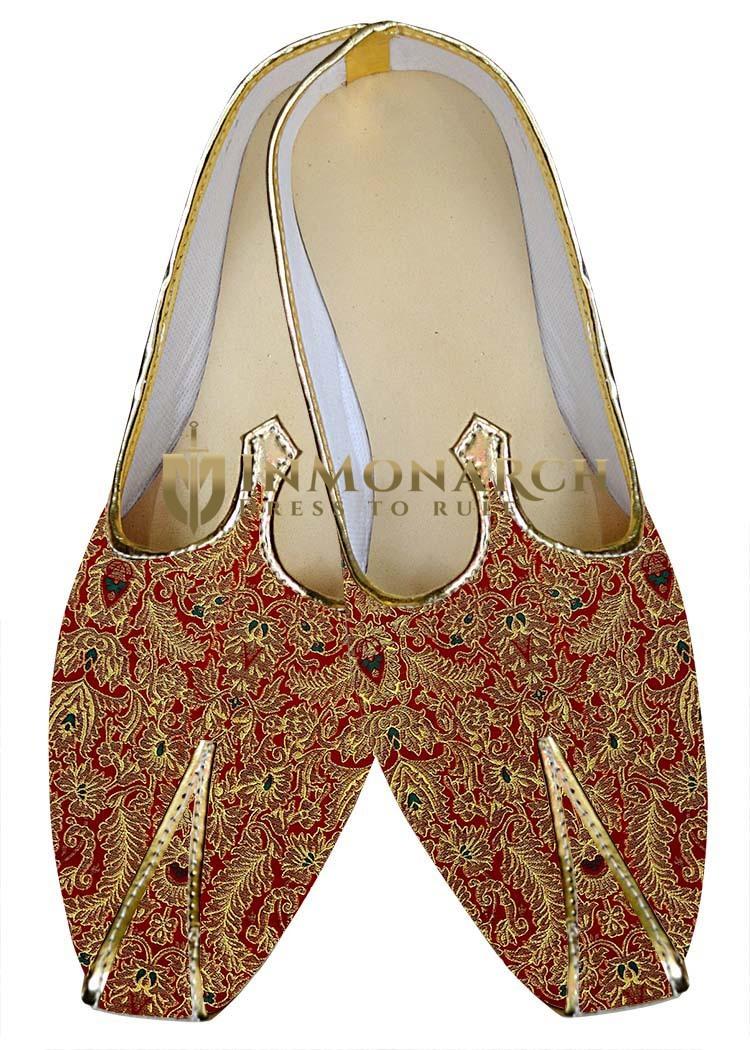Mens Juti Maroon Wedding Shoes Threading Design Sherwani Shoes