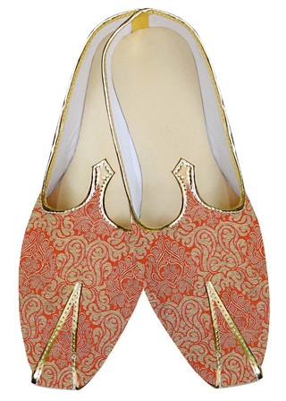 Mens Sherwani Shoes Orange Wedding Shoes Partywear Juti For Men