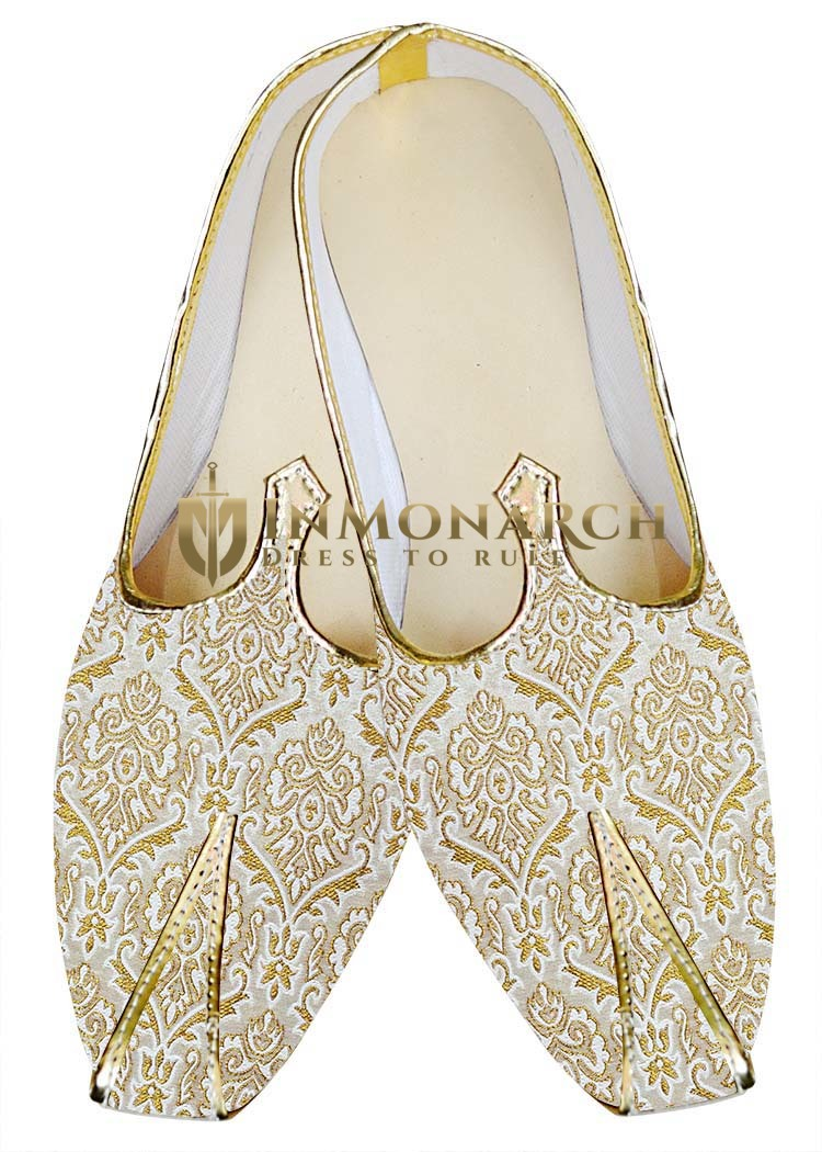 Traditional Shoes For Men Cream and Golden Design Wedding Shoes