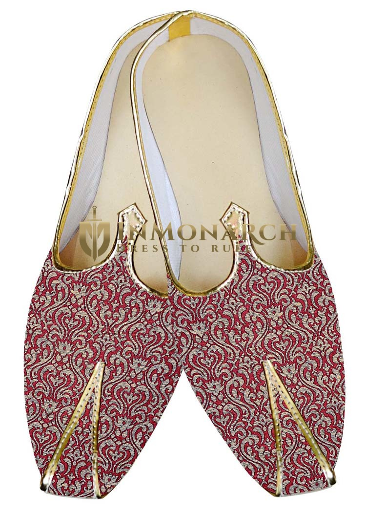 Indian MensShoes Burgundy Wedding Shoes Luxurious Juti