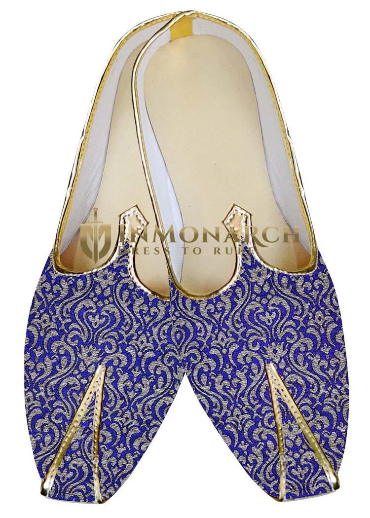 Mens Sherwani Shoes Royal Blue Wedding Shoes Beautiful